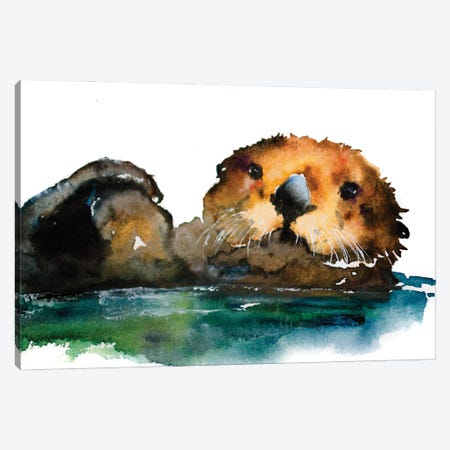 Otter Canvas Print #AGY85} by Allison Gray Canvas Artwork