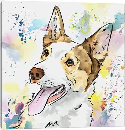 Pastel Colors Australian Shepherd Canvas Art Print
