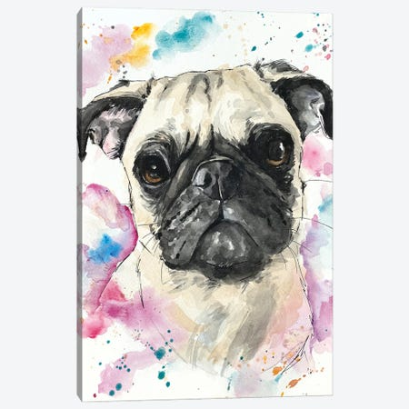Pinky Pug Canvas Print #AGY91} by Allison Gray Canvas Artwork