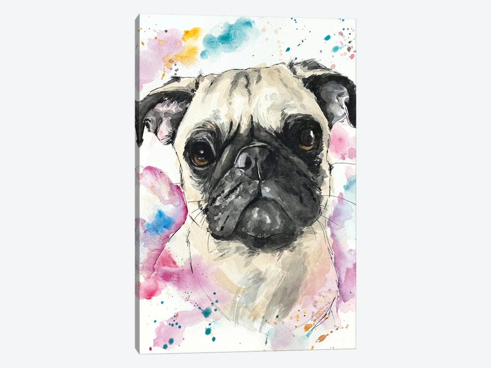 Pinky Pug by Allison Gray 1-piece Canvas Art Print