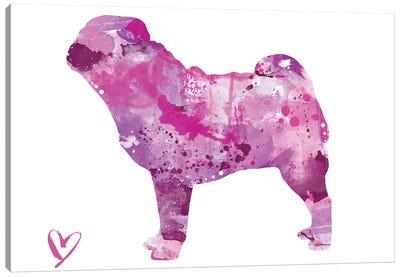 Pug Silhouette Canvas Art Print