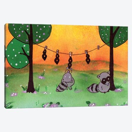 Raccoon Laundry Day Canvas Print #AGY99} by Allison Gray Canvas Wall Art