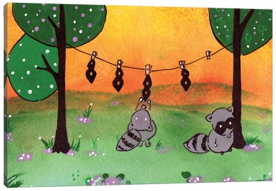 Raccoon Laundry Day Canvas Art Print