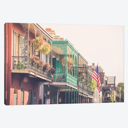 Colorful New Orleans French Quarter Balconies Canvas Print #AHD220} by Ann Hudec Canvas Art