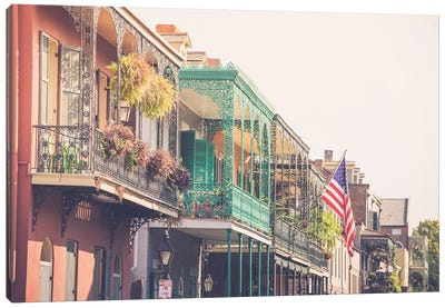Colorful New Orleans French Quarter Balconies Canvas Art Print