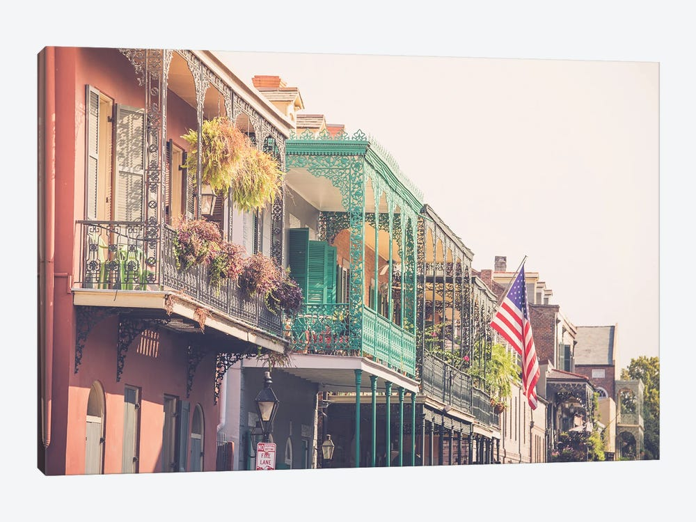 Colorful New Orleans French Quarter Balconies by Ann Hudec 1-piece Art Print