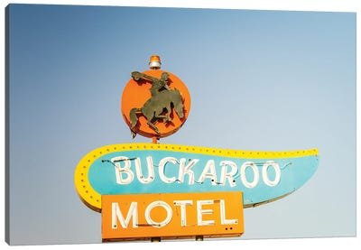 Route 66 Buckaroo Motel Vintage Sign Art Canvas Art Print