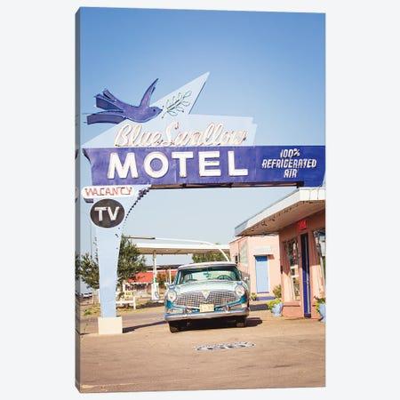 Route 66 Motel & Classic Car Canvas Print #AHD240} by Ann Hudec Canvas Wall Art