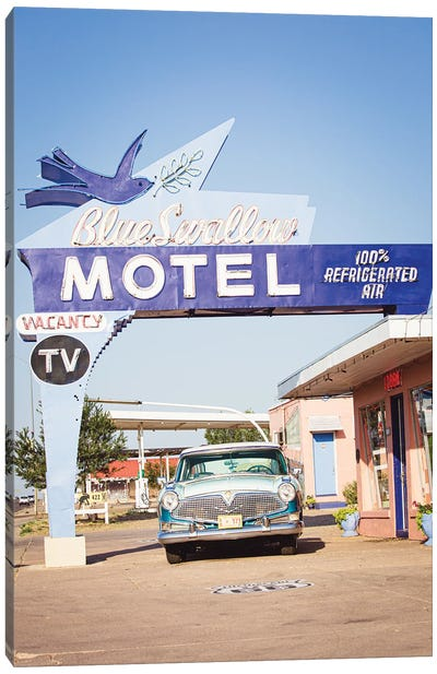 Route 66 Motel & Classic Car Canvas Art Print