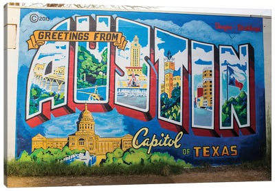 Gretings From Austin Canvas Art Print