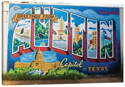 Gretings From Austin Canvas Art Print