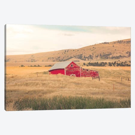 Montana Red Barn Canvas Print #AHD94} by Ann Hudec Canvas Artwork