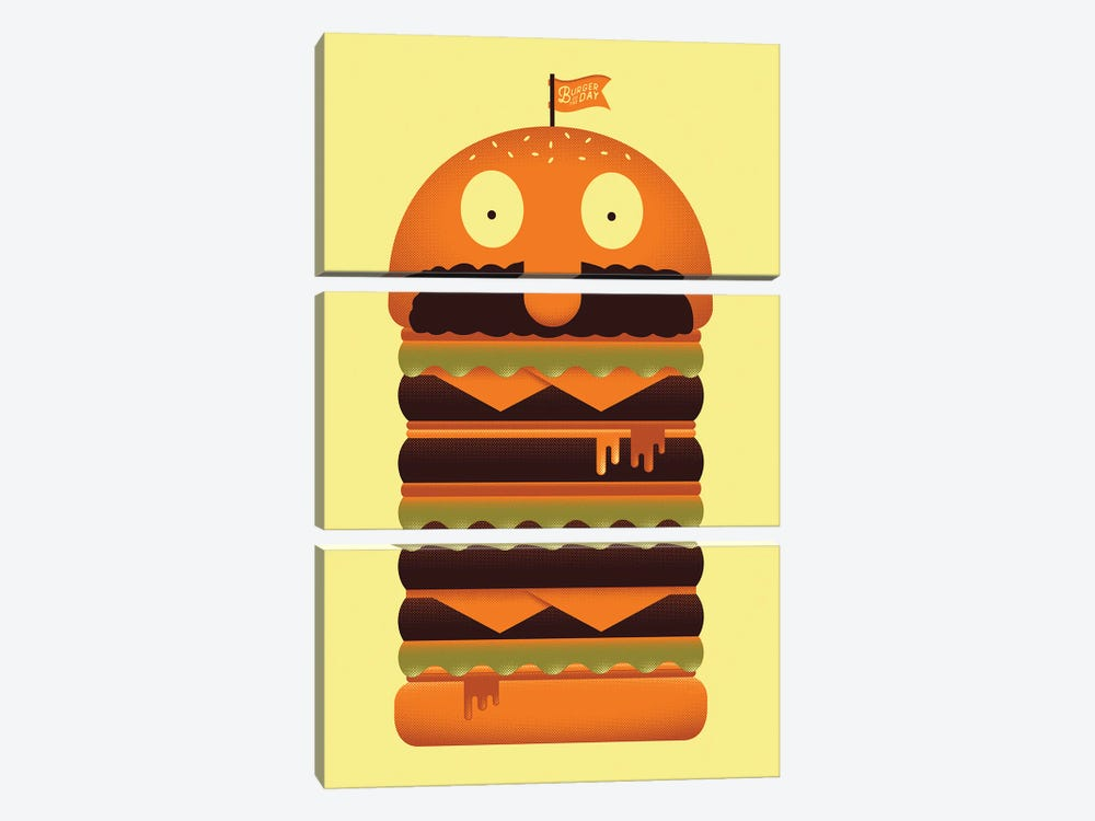 Burger of the Day by Andrew Heath 3-piece Canvas Art Print