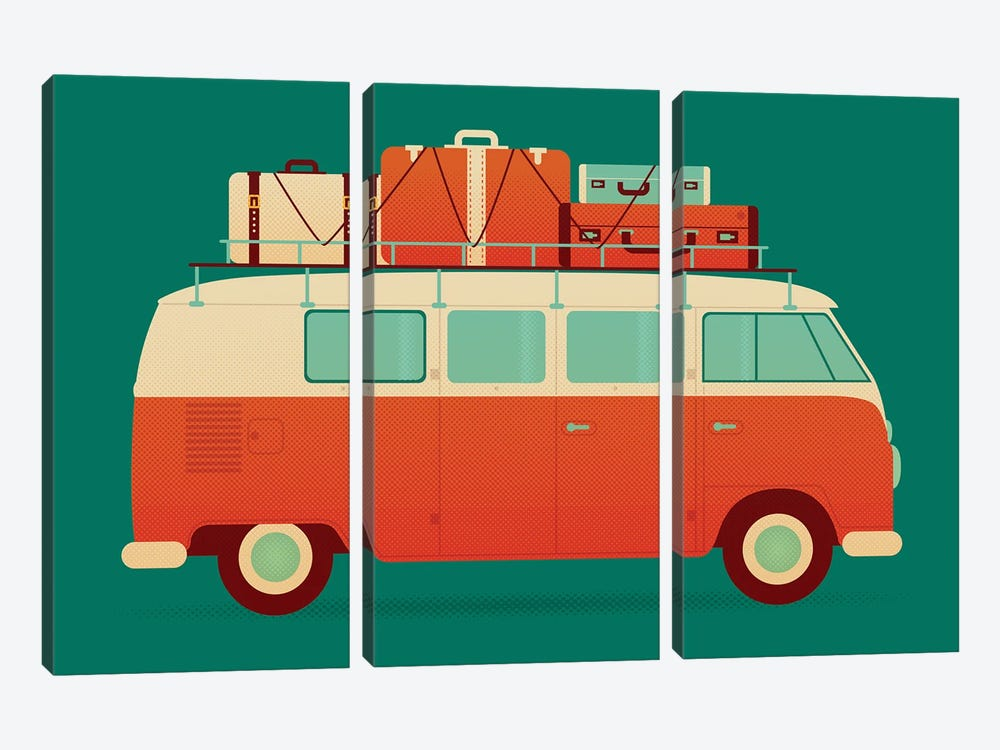 60's Vacation by Andrew Heath 3-piece Canvas Art Print