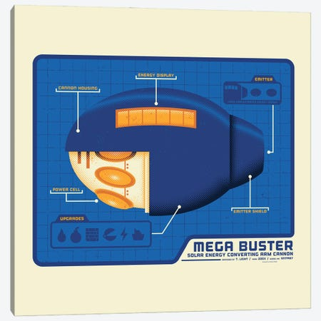 Mega Buster Canvas Print #AHH59} by Andrew Heath Art Print