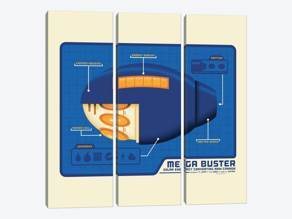 Mega Buster by Andrew Heath 3-piece Canvas Artwork