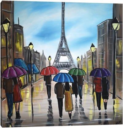 Colorful Paris Umbrellas Canvas Art Print