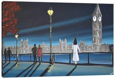 Moonlight In London Canvas Art Print
