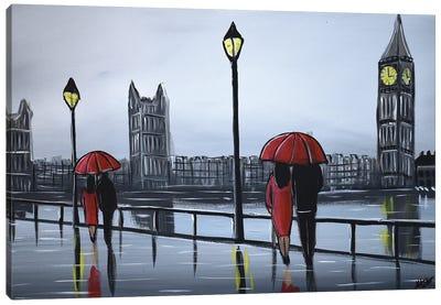 Red London Umbrellas Canvas Art Print
