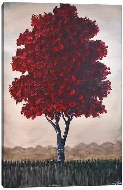Single Red Tree Canvas Art Print