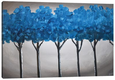 Teal Blue Trees IV Canvas Art Print