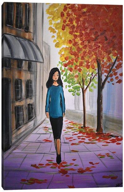 Autumn City Walk Canvas Art Print