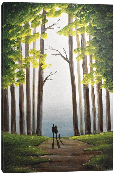 Green Woodland Walk Canvas Art Print
