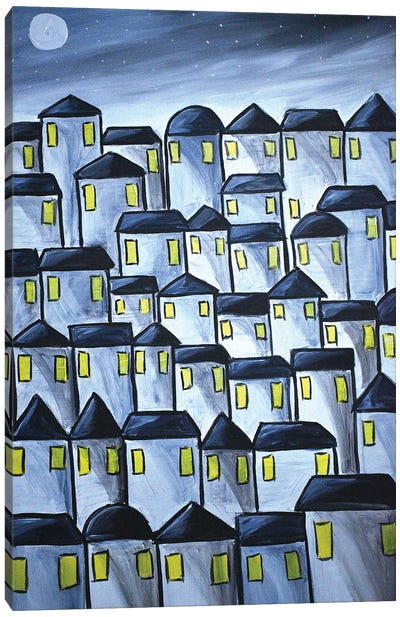 Moonlit Houses Canvas Art Print