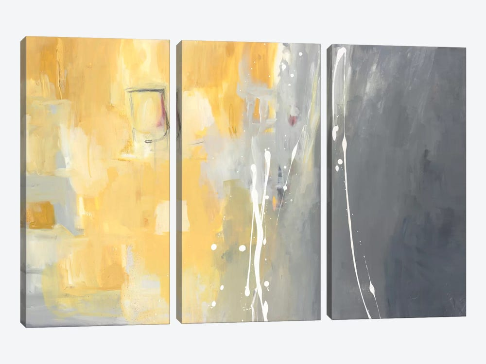 50 Shades Of Gray And Yellow by Julie Ahmad 3-piece Canvas Art