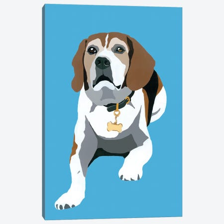 Beagle On Blue Canvas Print #AHM49} by Julie Ahmad Canvas Art Print