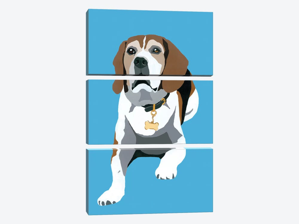 Beagle On Blue by Julie Ahmad 3-piece Canvas Print