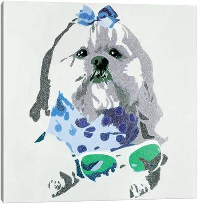 Beausy Bear In Blue Canvas Print #AHM4