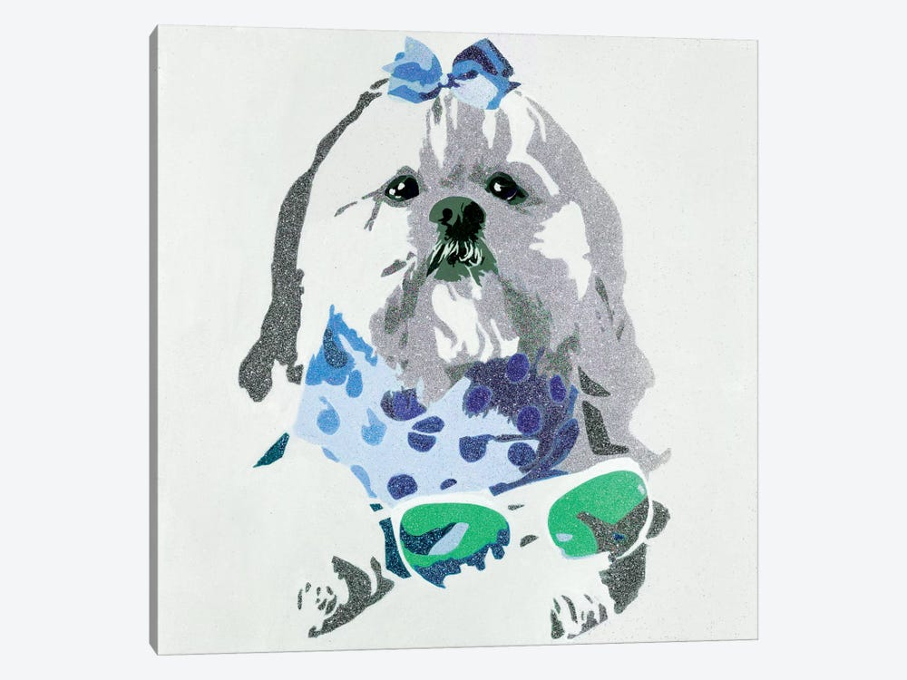 Beausy Bear In Blue by Julie Ahmad 1-piece Art Print