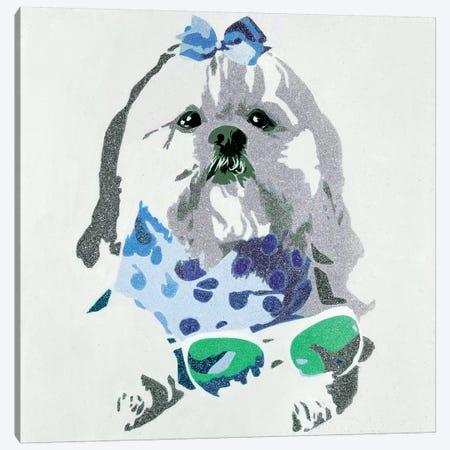Beausy Bear In Blue Canvas Print #AHM4} by Julie Ahmad Canvas Artwork