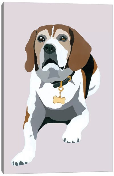 Beagle On Gray Canvas Art Print