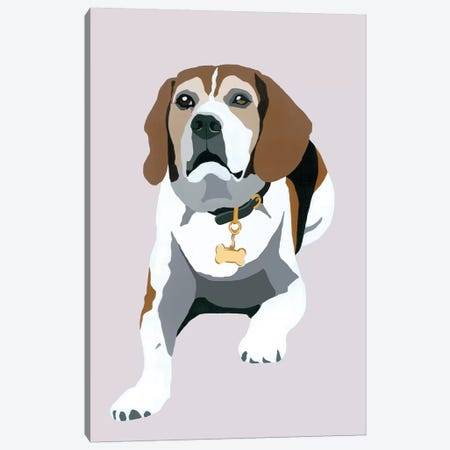 Beagle On Gray Canvas Print #AHM50} by Julie Ahmad Canvas Wall Art