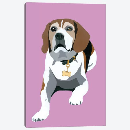 Beagle On Pink Canvas Print #AHM51} by Julie Ahmad Canvas Art