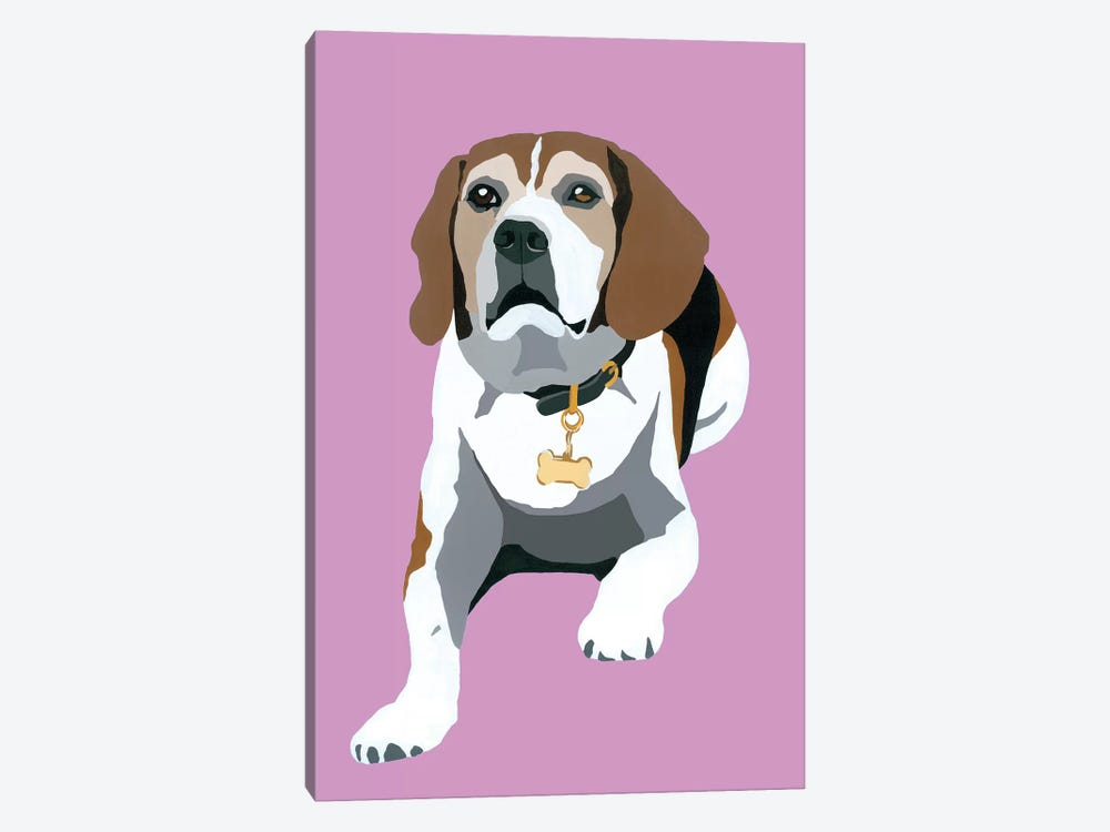 Beagle On Pink by Julie Ahmad 1-piece Canvas Artwork