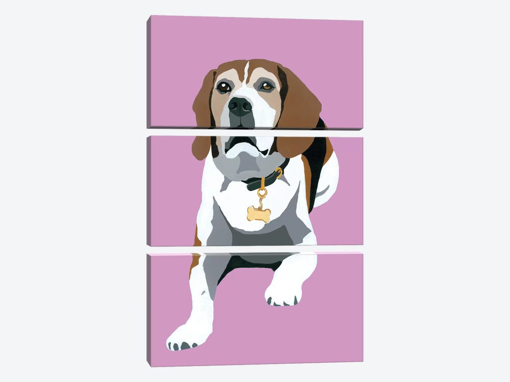 Beagle On Pink by Julie Ahmad 3-piece Canvas Artwork