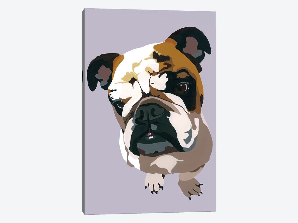 Bulldog On Gray by Julie Ahmad 1-piece Canvas Wall Art