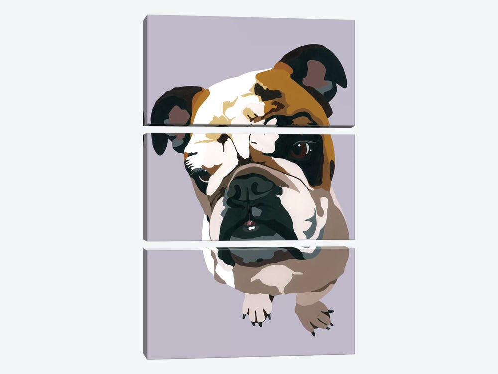 Bulldog On Gray by Julie Ahmad 3-piece Canvas Art