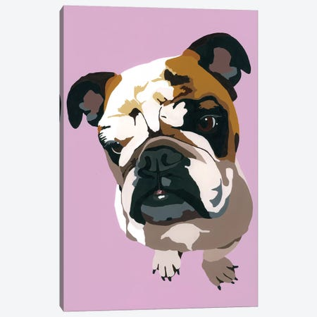 Bulldog On Lavender Canvas Print #AHM54} by Julie Ahmad Canvas Art Print