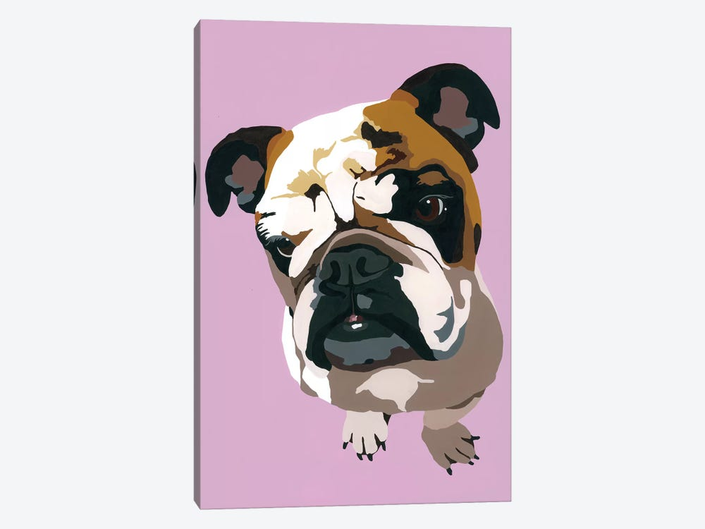 Bulldog On Lavender by Julie Ahmad 1-piece Canvas Art Print