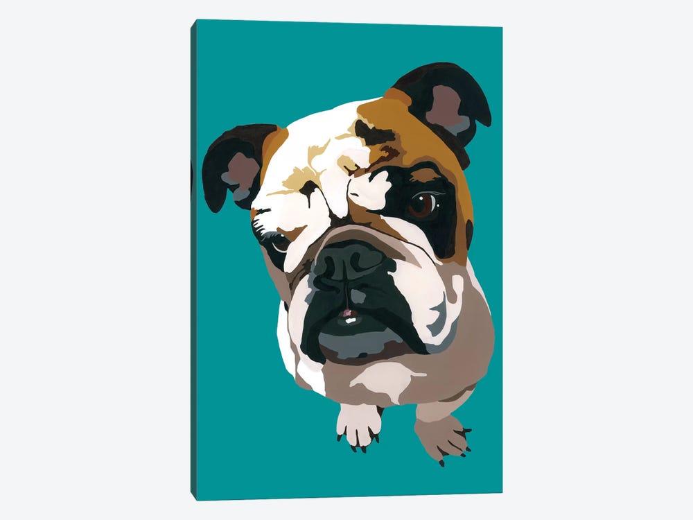 Bulldog On Teal by Julie Ahmad 1-piece Canvas Print