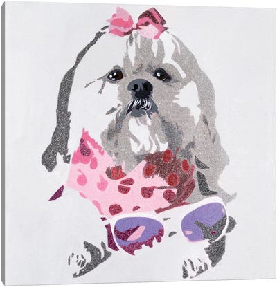Beausy Bear In Pink Canvas Art Print