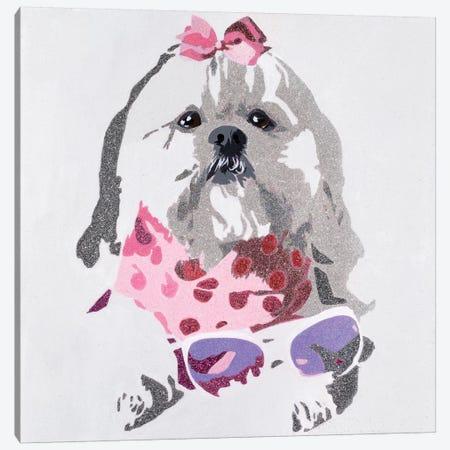 Beausy Bear In Pink Canvas Print #AHM5} by Julie Ahmad Canvas Artwork