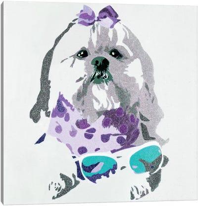 Beausy Bear In Purple Canvas Print #AHM6