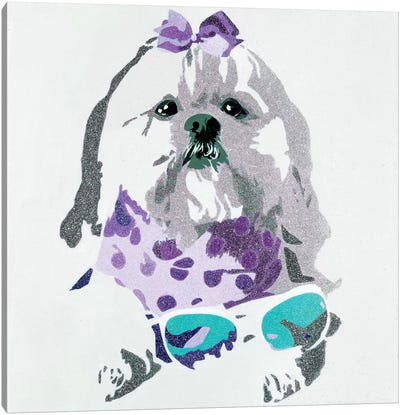 Beausy Bear In Purple Canvas Art Print