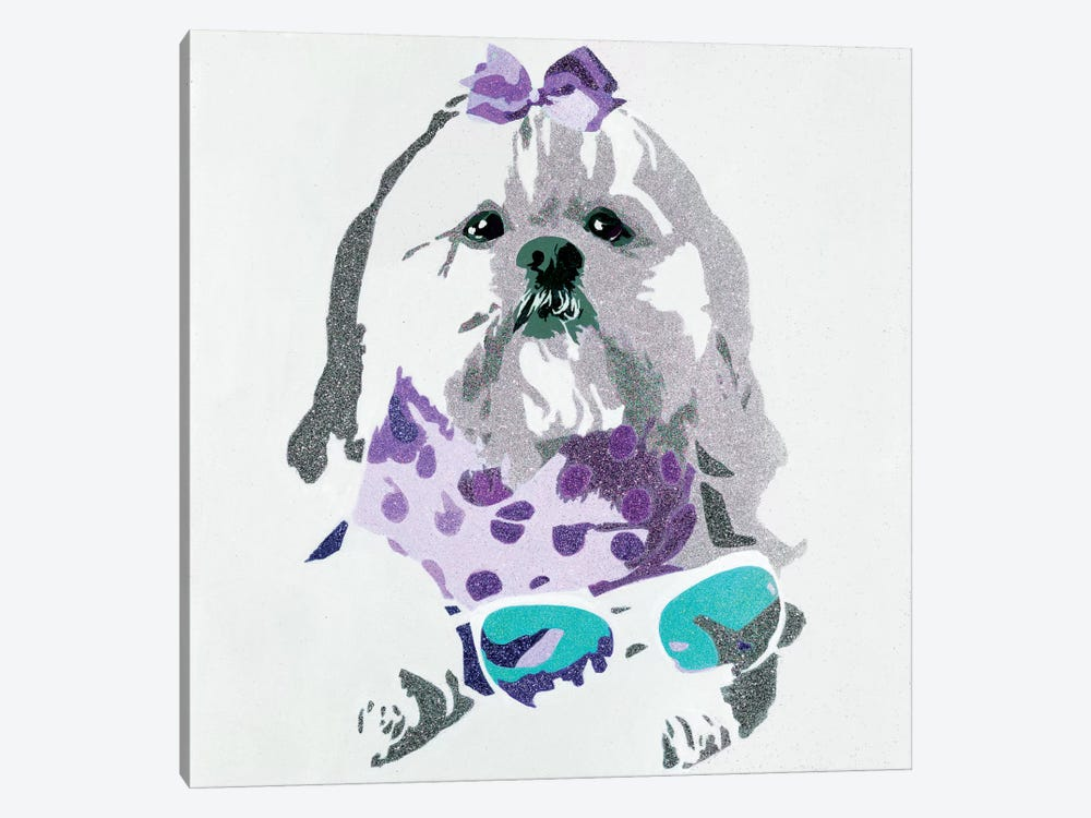 Beausy Bear In Purple by Julie Ahmad 1-piece Canvas Art Print