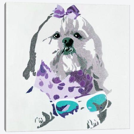 Beausy Bear In Purple Canvas Print #AHM6} by Julie Ahmad Canvas Artwork